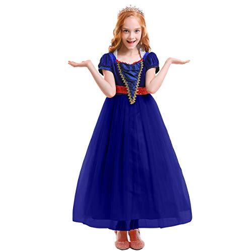 en Schneewittchen Kostüm Cosplay Märchen Prinzessin Kleid kurzen Ärmeln Tüll langes Kleid Halloween Party Ball Abendkleid Festzug Geburtstag Cocktailkleid Hochzeitskleid Blau 12-13 ()
