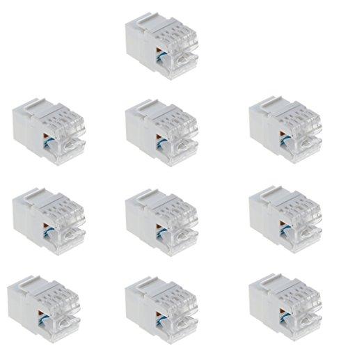 H HILABEE 10 Stü Cat6 / 5e RJ45 Keystone Buchse Ethernet Netzwerk LAN Modul Punch Down Weiß -