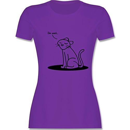Shirtracer Sprüche - Bin Wach. Katze - Damen T-Shirt Rundhals Lila