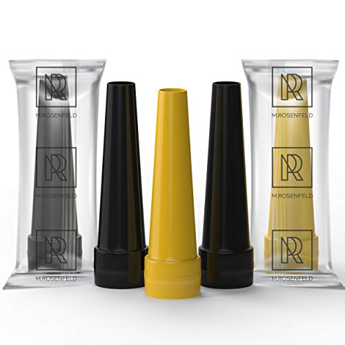M. ROSENFELD Premium Shisha Hygienemundstück für Wasserpfeife - aus lebensmittelechtem Plastik, 100er-Pack, L 55mm, schwarz Gold, Shisha-Mundstücke Einweg bunt, Hygienemundstücke Hookah Mouth Tips
