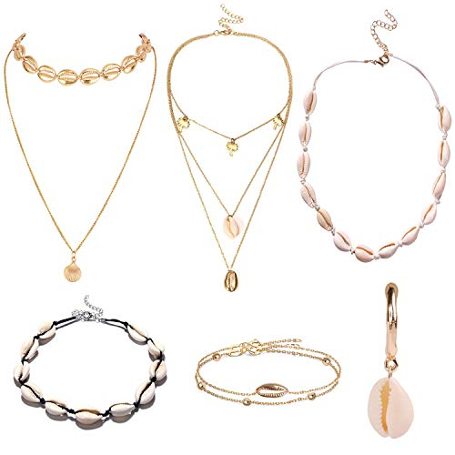 LABOTA 6 Stück Muschelkette, Halskette mit Muscheln Muscheln Muster Fußkette Armband Armketten für Mädchen (Handgefertigt, Verstellbar)
