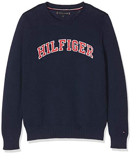 Tommy Hilfiger Jungen Essential Hilfiger Sweater Sweatshirt, Blau (Black Iris 002), 128