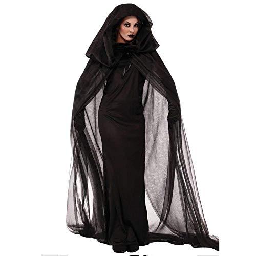 Fashion-Cos1 Halloween Kostüme Für Frauen Hexe Rollenspiel Böse Hexe Geist Cosplay Kostüme Karneval Abend Party Kleid (Size : M) (Böse Make-up Halloween Augen)