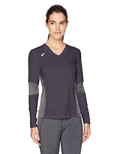 ASICS Damen Köder Long Sleeve Jersey, Damen, BT3279, Steel Grey/Heather Grey, M (Asics Jersey-shorts)