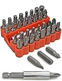 fuxxer®–33piezas estándar Juego de puntas, de estrella (Torx puntas hexagonales Ranura IMBUS | con Bit de soporte magnético en caja | 33er Set