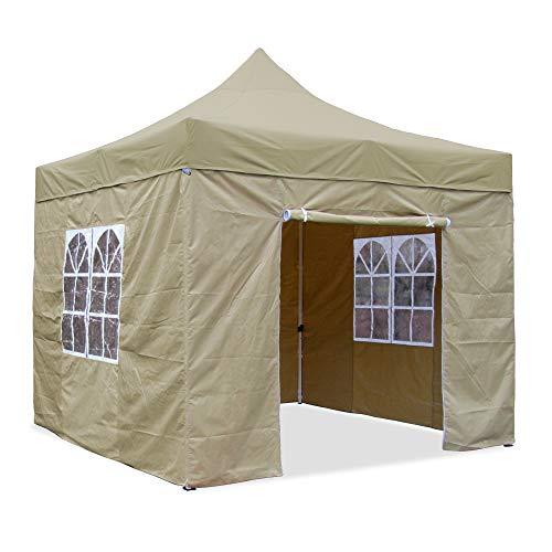 JOM Falt-Pavillon, 3 x 3 m, beige, Profi Ausführung, Material Oxford 420 D, wasserdicht, 4 Seitenwände, Befestigung Seitenwände mit Reisverschluß