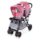 RAQ Gemelli passeggini gemello in Acciaio Ultra-Leggero Pieghevole può sedersi può mentire ad Alto Paesaggio Bambino Ombrello (Colore : Pink)