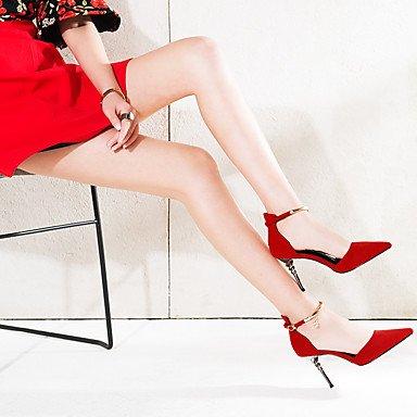 LvYuan Da donna-Sandali-Ufficio e lavoro Formale Serata e festa-Altro-A stiletto-Scamosciato-Nero Rosso Black