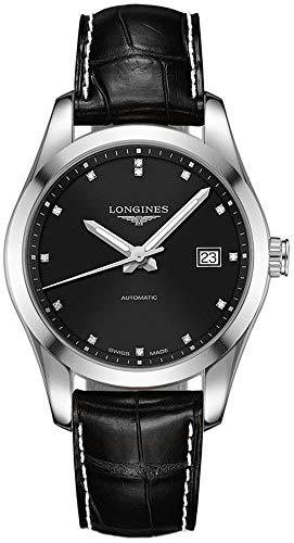 Longines Conquest L2.785.4.58.3 Reloj de Vestir clásico con Esfera Negra para Hombre