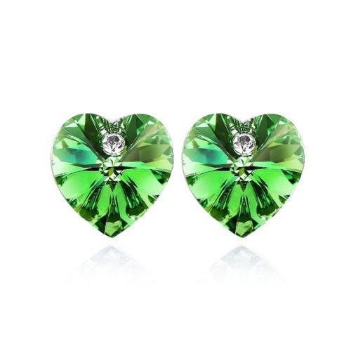 Herzen Kristall Ohrstecker Frauen Jewelelry Ohrringe E1122 (Grünen Kostüm Ideen)