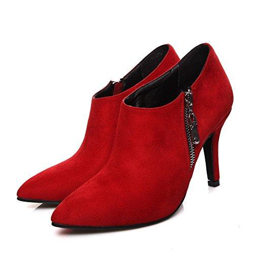 AllhqFashion Femme Zip Pointu Stylet Pu Cuir Couleur Unie Chaussures Légeres Rouge