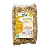 Markal   Copos de Cereales con 5 Cereales Orgánicos : Avena, Trigo, Cebada, Arroz y Centeno, Copos Cereales Naturales   500g