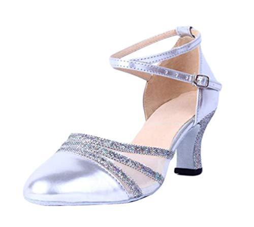 CHENYANG Runde Zehen Hoch Absatz Schnalle Pumps Glitter Party Tanzschuhe Damen Brautschuhe Silber 40