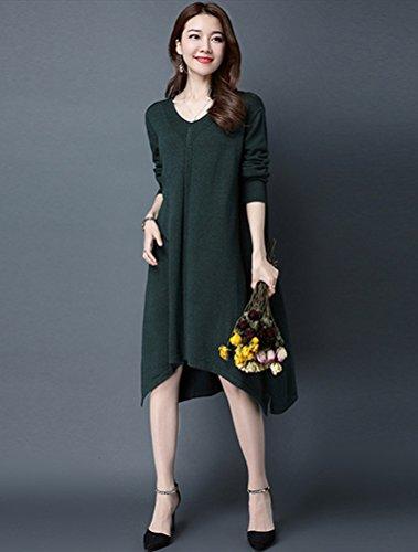 Vogstyle Damen Frühling/Herbst Neuer Kleid Pullover Art 1 Dunkelgrün