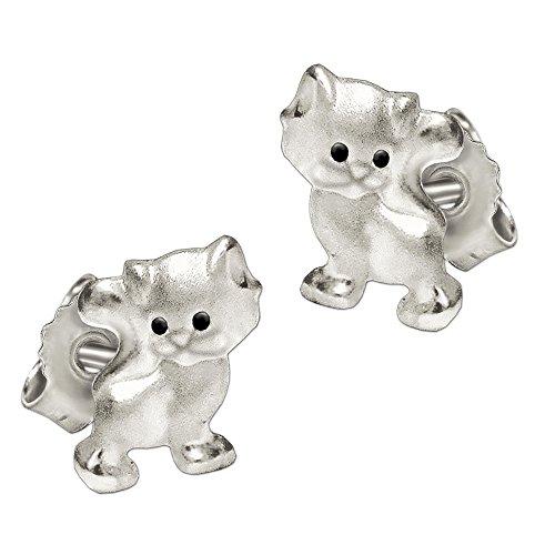 Clever Schmuck Silberne sehr kleine Kinder Ohrstecker Mini Katze 6 x 5 mm mit Augen schwarz, matt und glänzend STERLING SILBER 925