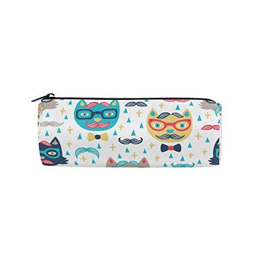 IMOBABY Cartoon Katze Schnurrbart-Sonnenbrille Federmäppchen Stifteetui Stifteetui Stifttasche mit Reißverschluss für Schüler und Studenten