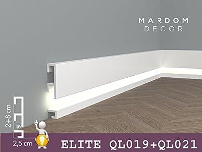 ***TOPSELLER*** MARDOM DECOR - QL019+QL021 Lichtleisten Fußleisten I Sockelleisten für indirekte LED Beleuchtung I 200 cm x 8,0 cm x 2,5 cm + 200 cm x 2,0 cm x 2,5 cm von Mardom Decor - TapetenShop