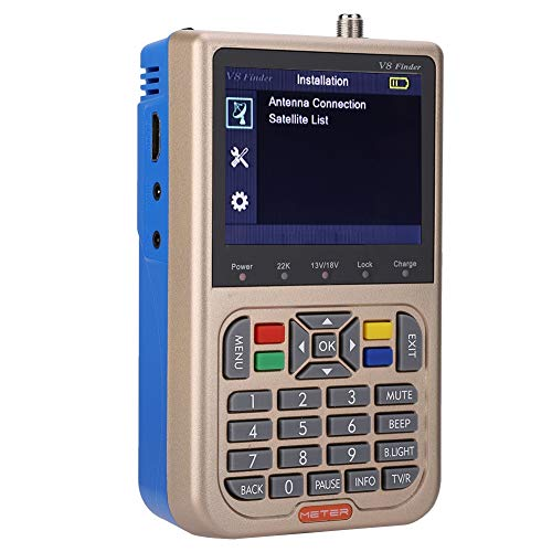 Buscador de señal de TV Digital, Mini DVB-S2 / S2X Buscador de medidor de señal de Antena de TV Digital para TV portátil Fácil de Transportar(EU)