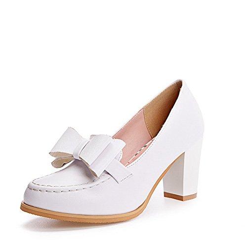 AllhqFashion Damen Rein Weiches Material Hoher Absatz Ziehen Auf Rund Zehe  Pumps Schuhe Weiß