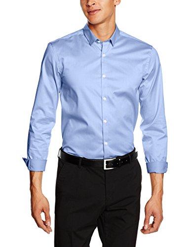 Lindbergh Plain Twill Stretch Shirt L/s, Chemise de Loisirs Homme Noir (lt Blue Lt Blue)