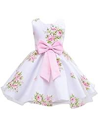 a91bcc089f34 LaoZan Ragazze Stampa Abito Bambina Senza Maniche Principessa Compleanno  Festa Matrimonio Sera Vestito Pink per 8