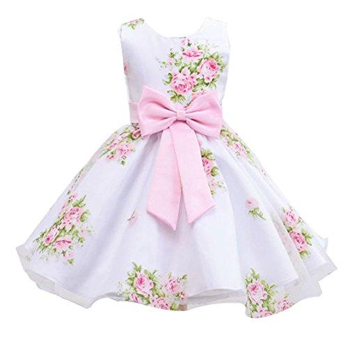 mellos Prinzessin Kleid Festkleider Partykleider Kinder Blumensmädchenkleid Pink für 2-3 Jahre alt (Kostüme Für 8-jährige Mädchen)