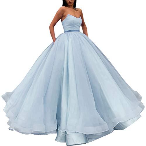 VKBRIDALEU Damen Strapless Ballkleid Abendkleider Lang Quinceanera Sweet 16 Kleid mit Taschen