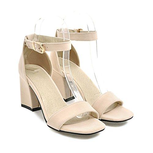 Damenschuhe Sandalen Sommer Ankle Wrap Sandalette High Heels Chunky High Heel Arbeiten (Ankle Heel Chunky Wrap)