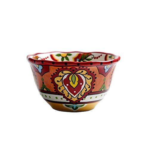 HJXSXHZ366 Keramikschale Vintage Besteck handbemalt Net Red Bowl Keramik geformte Obst Salat Teller Familie Frühstücksflocken Suppentopf 15,5x8,8 cm
