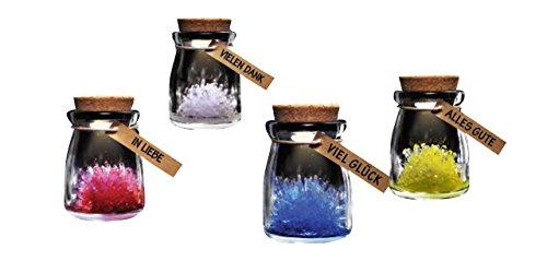 Wunsch Kristall zum selber züchten mit LED Farbwechsel Motiv weiß Vielen DANK