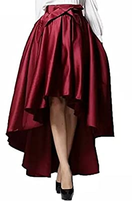 JANAK Women's Raw Silk Skirt(DN140, Maroon, Medium)