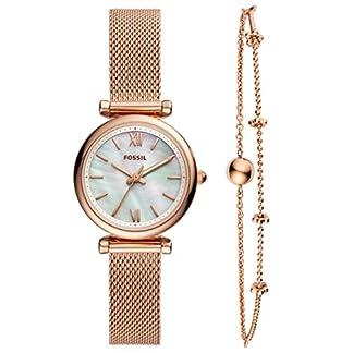 Fossil Carlie Mini – Reloj Analógico para Mujer, de Cuarzo con Correa en Acero Inoxidable, Oro Rosa/Blanco