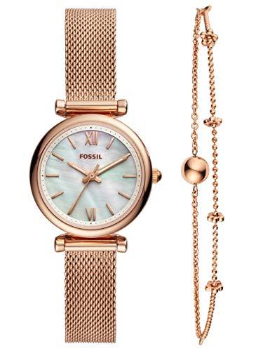 Fossil Damen Analog Quarz Uhr mit Edelstahl Armband ES4443SET