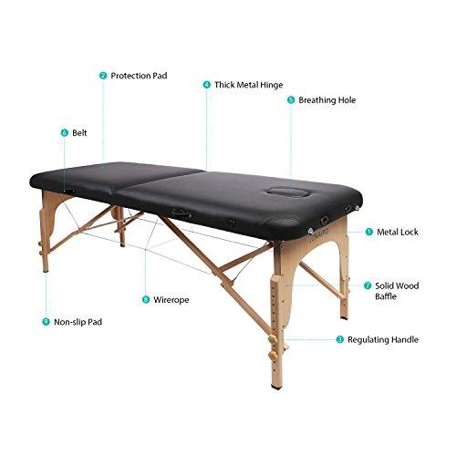 Naipo Table de Massage Pliante Professionnelle Cosmétique Portable Lit table de beauté Canapé Pieds en Bois Hêtre 2 Zones Pliables Hauteur Réglable pour Thérapie Spa Noir + Housse de Transport 13kg