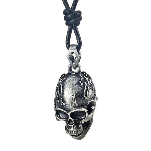 Collar de los hombres del cráneo Negro del estilo del motorista de la vendimia del cuero genuino (71cm cadena ajustable)