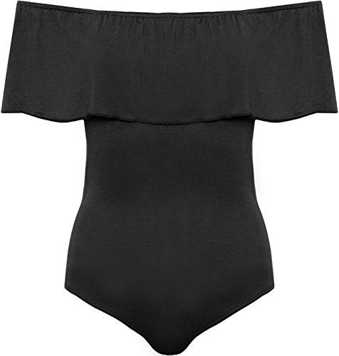 WEARALL Femmes De Épaule Body Dames Péplum Volant Sans Manches Boho Étendue Collant - 36-42 Noir
