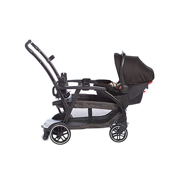 Graco Modes Duo Tandem Pushchair, Shift Graco 27 riding options for 2 children from infant to toddler; click connect attaches with all graco snug ride/essentials infant car seats. suitable from birth to 13kg (approx. 3 years) Two removable, multi-position reclining seats can be positioned rear or forward facing; the built-in bench seat gives your big kid a place to rest; both front and rear seats hold up to 15kgs One-hand standing fold, folds with seats on or off; locking front swivel wheels for superior manoeuvrability; one-step brakes make stopping, and going again, quick and easy 13