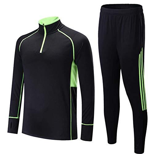 QAZWSX Kinder Erwachsenen Fußball Trainingsanzug Stehkragen Reißverschluss Halb Schnell Trocknend Sportbekleidung Langarm-Männer Und Frauen Laufanzüge -