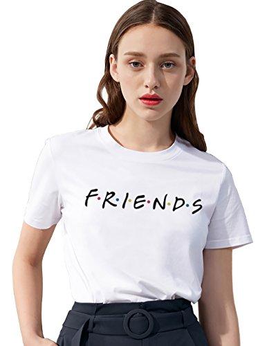 Foto de Pareja Camiseta Camiseta Mejor Amiga Shirt Best Friend Logo para Mujer 100% Algodón T-Shirt TV Impresión Fiends Blanco Básico Manga Corta Redondo Verano Elegante Regalo(Blanco,S)