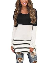 Yidarton Damen Langarm Shirt Bluse Tunika Oberteile Streifen Lace Loose  Pullover Lang Sleeve Tops 5154ddf47a