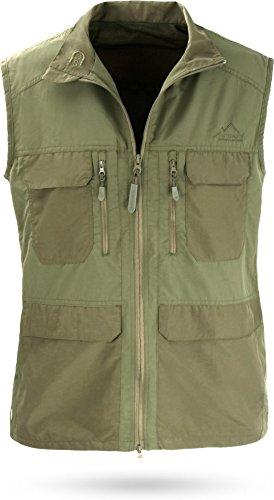 normani Outdoor Weste Freizeitweste Safariweste mit Sonnenschutz 50+ und Vielen Praktischen Taschen Farbe Oliv Größe S