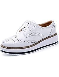 4f9b53a9f150 Minetom Femmes Brogues Chaussures de Ville à Lacets Derbies Baskets Cuir  Vernis Plateforme Antidérapant Rétro Oxford Mocassins Loafers
