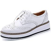 Minetom Zapatos de Casual Brogue Oxford para Mujer Vintage Derby Cuero Zapatos con Cordones Plataforma Oficina