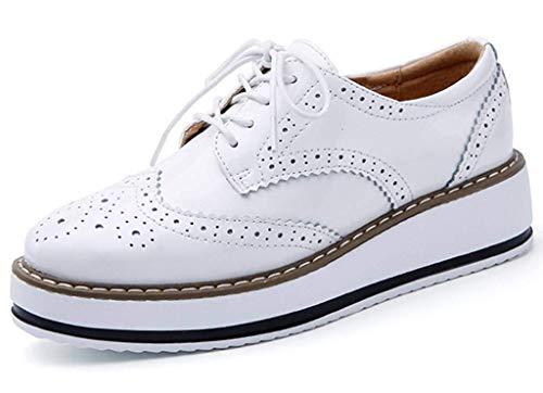 Minetom Damen Derby Brogue Schnürhalbschuhe Anzugschuhe Flügelspitzen Plattform Oxfords Schuh PU Leder Britischer Stil Bullock Schuhe Weiß EU 41 Oxford-high Heel-plattform