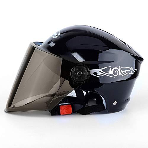 Ecloud Shop Motorradvisier Flip up Modularer Halbhelm mit Sonnenschutz für Herren & Damen Elektroautohelm, Fahrradhelm (schwarz)