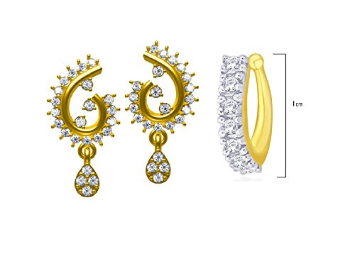 TWISHAS NEW AMERICAN DIAMOND NOSE PIN RING AND SETS OF GOLD PLETED STUD EAR RINGS FOR WOMENS AND GIRLS