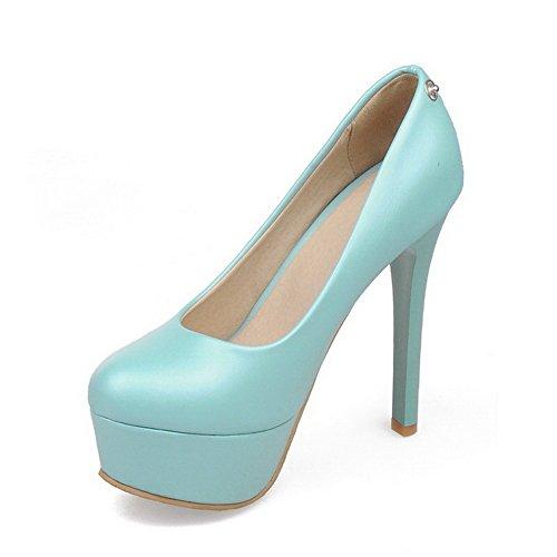 AgooLar Femme Stylet Couleur Unie Tire Matière Mélangee Rond Chaussures Légeres Bleu