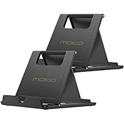 MoKo [2 Pack] Téléphone Portable/Tablette, Universal Multi-Angle Bureau Titulaire Pliable pour iPhone 8/8 Plus / 7/7, iPhone X, Galaxy Note 8, iPad Pro 11/10,5, Nintendo Switch, Noir