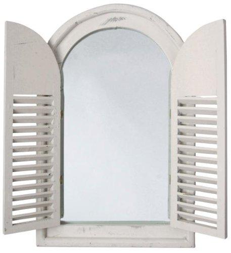 Spiegel mit Fensterläden, Landhausstil, Wandspiegel, weiß, mit 2 Türen, ca. 59 cm x 38 cm x 4,5 cm