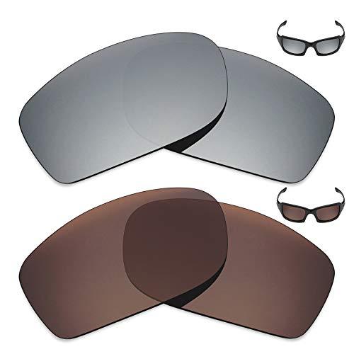 MRY 2Paar Polarisierte Ersatz Linsen für Oakley Fives Squared Sonnenbrille-Reichhaltige Option Farben, Silver Titanium & Bronze Brown